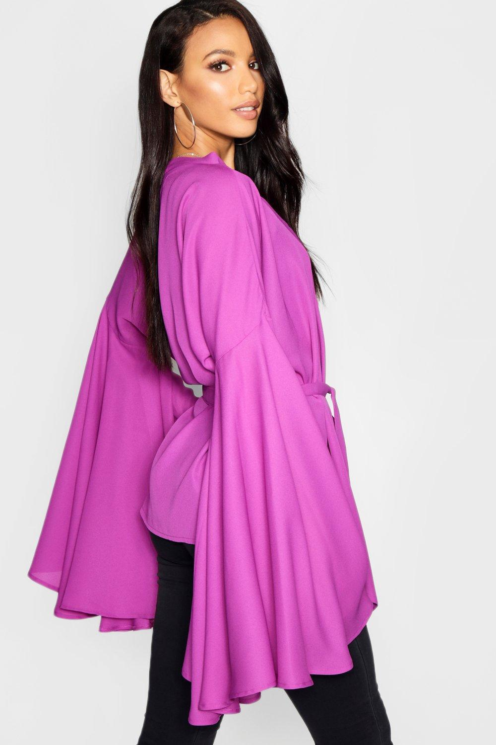 fabee9a003 Lyst - Boohoo Extreme Sleeve Tie Wrap Kimono Blouse in Red
