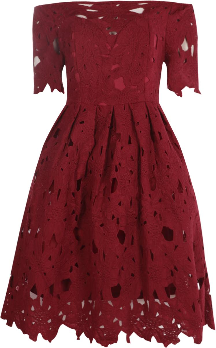 1c009875a858 Boohoo - Red Boutique Off Shoulder Lace Skater Dress - Lyst. View fullscreen