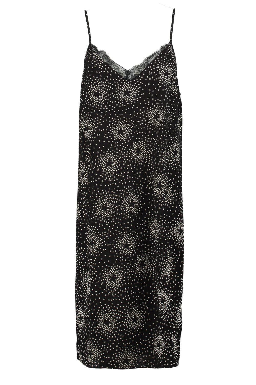 Boohoo Georgina Star Print Lace Trim Slip Dress in Black