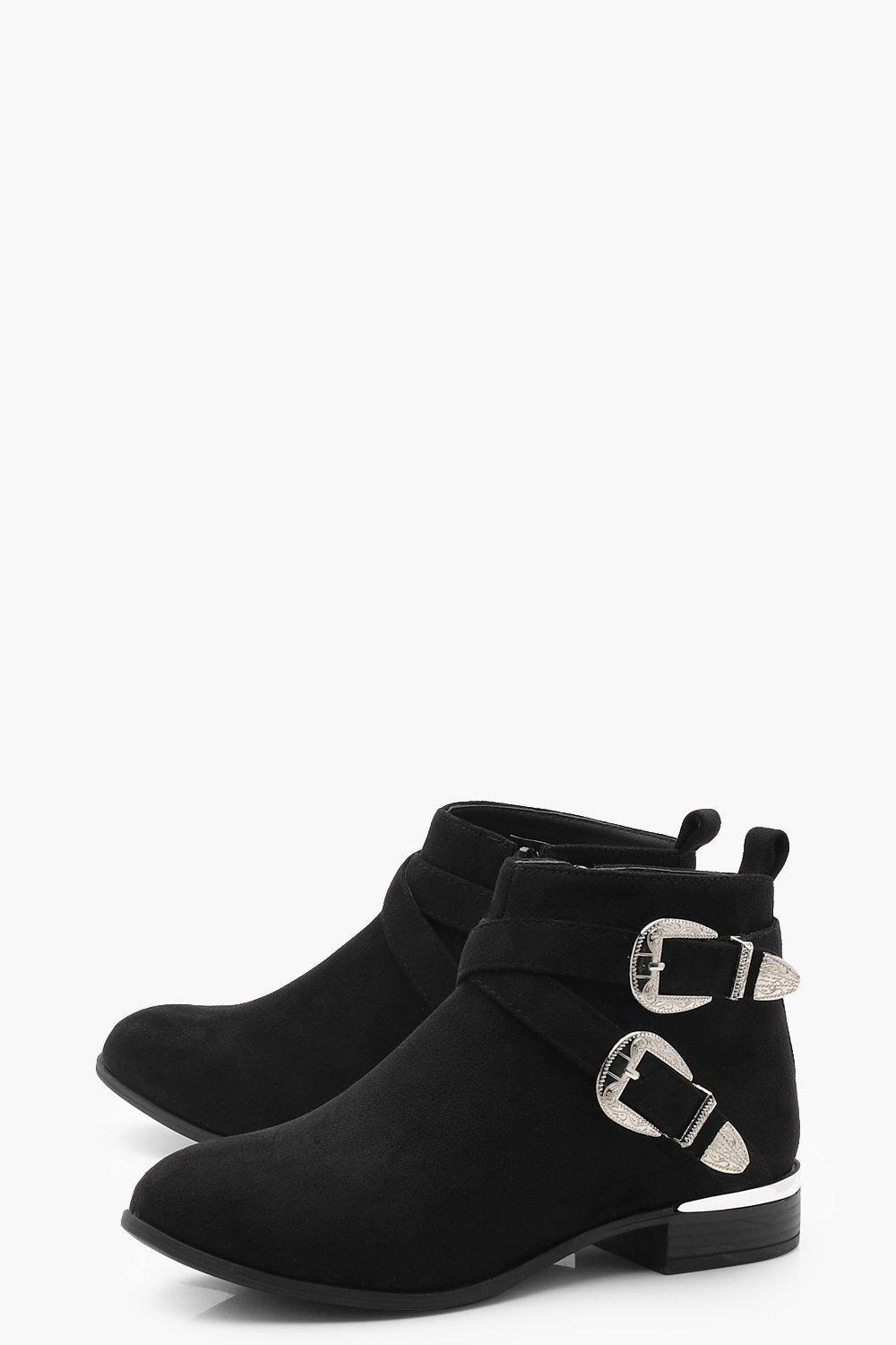 Boohoo Buckle Strap Chelsea Boots in Black