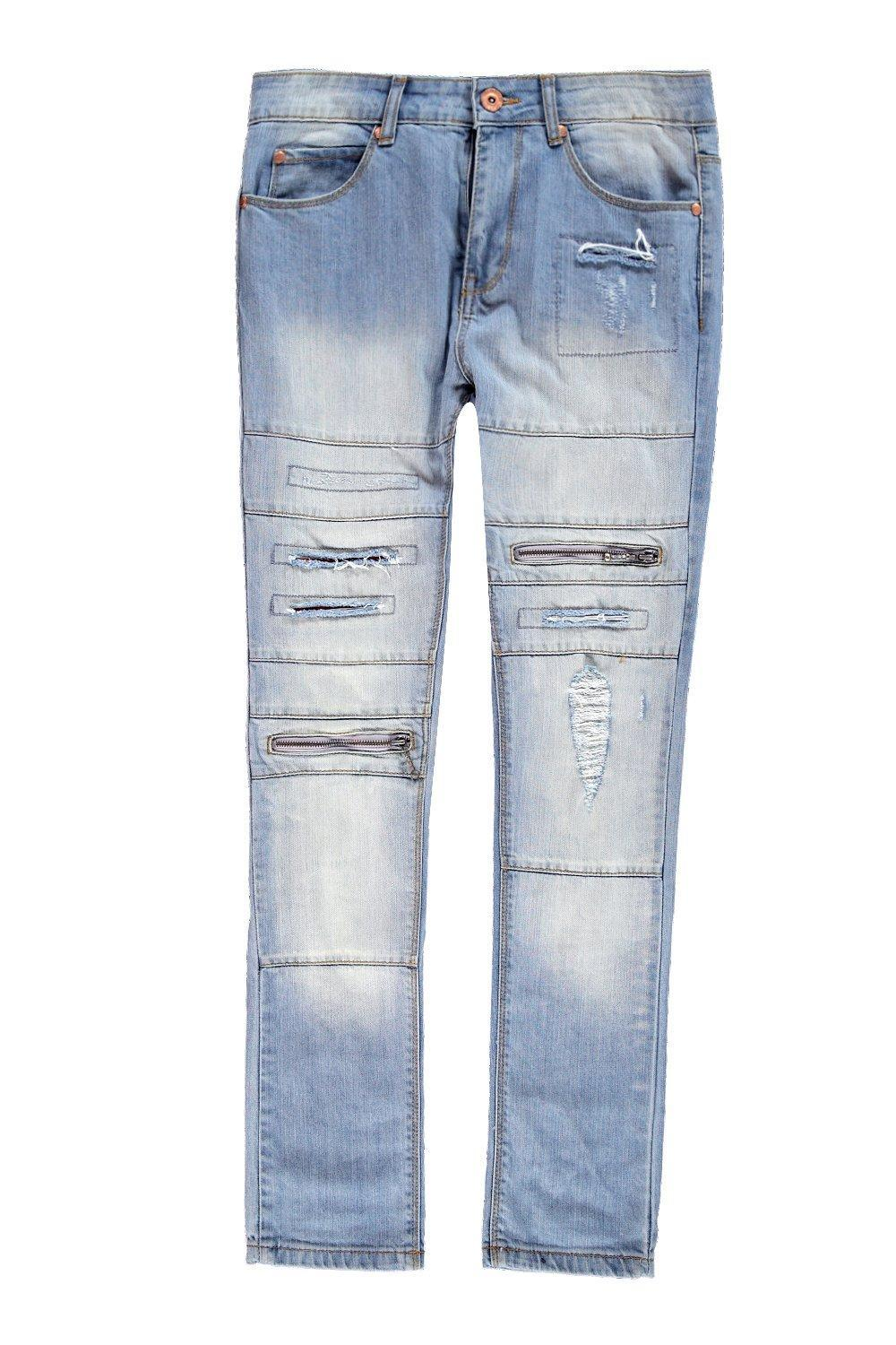 Boohoo Denim Spray On Skinny Jeans With Zips & Distressing in Light Blue (Blue) for Men