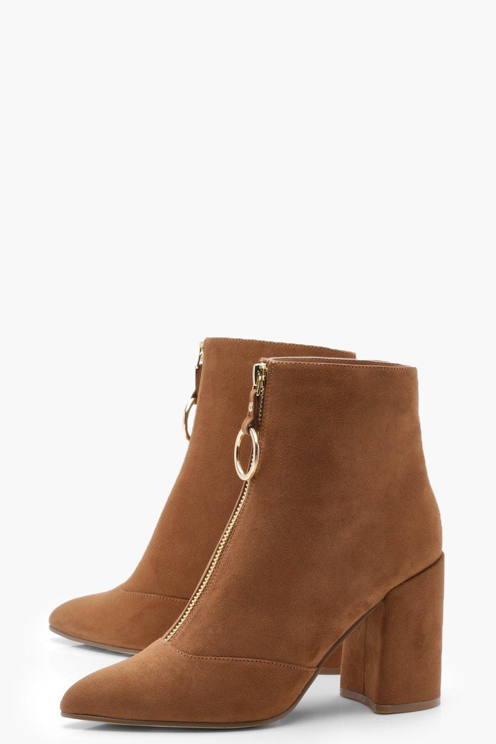 Boohoo O Ring Pull Suedette Shoe Boots in Tan (Brown)