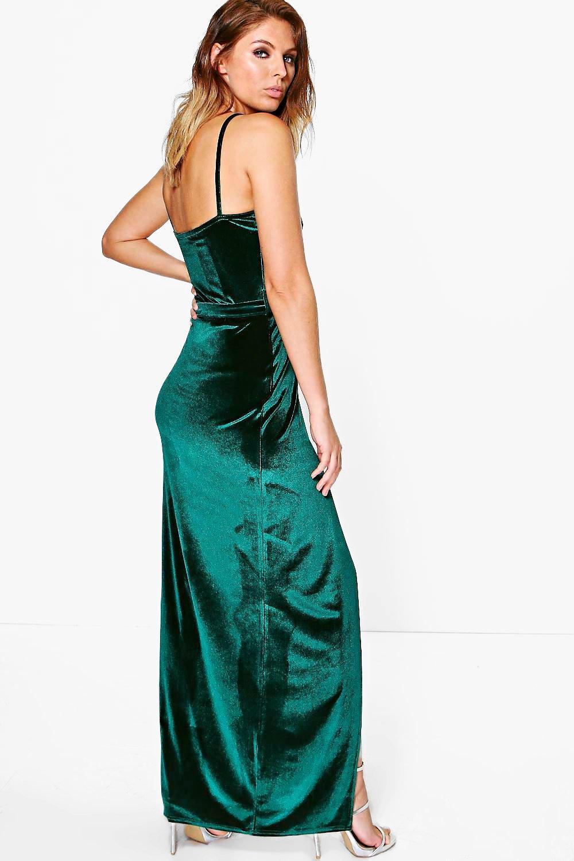 Boohoo Velvet Wrap Tie Maxi Dress In Black Lyst