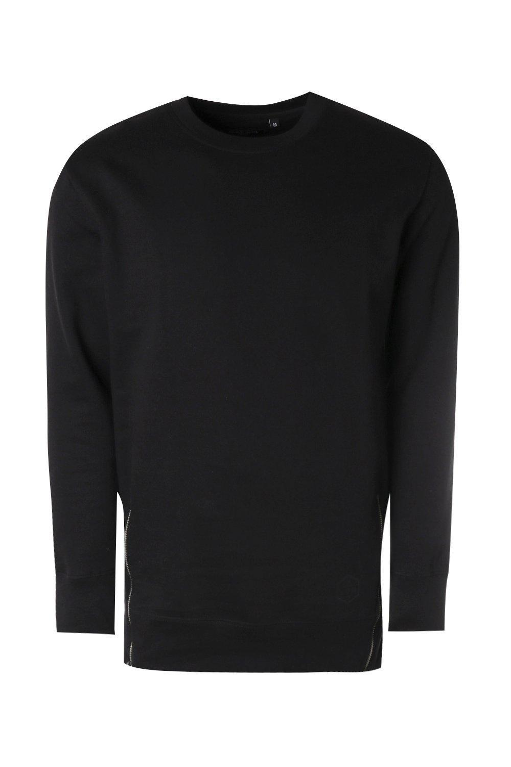 Boohoo Cotton Longline Sweater With Zip Detail in Black for Men
