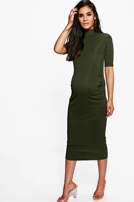c2bc07ac54d7 Lyst - Boohoo Maternity High Neck Rib Midi Dress in Green
