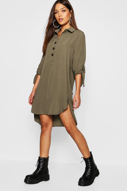 e2af549e91 Boohoo Linen Horn Button Tie Sleeve Shirt Dress in Natural - Lyst