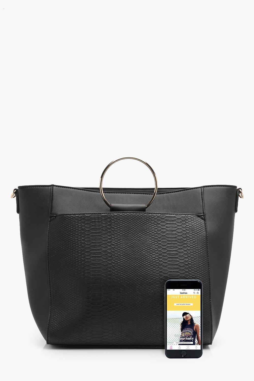 Boohoo Ellie Circle Handle Tote Bag in Black