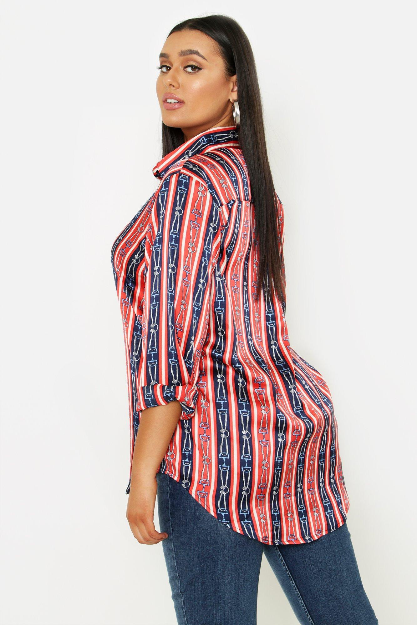 d458e54f Lyst - Boohoo Plus Stripe Chain Print Satin Shirt in Red