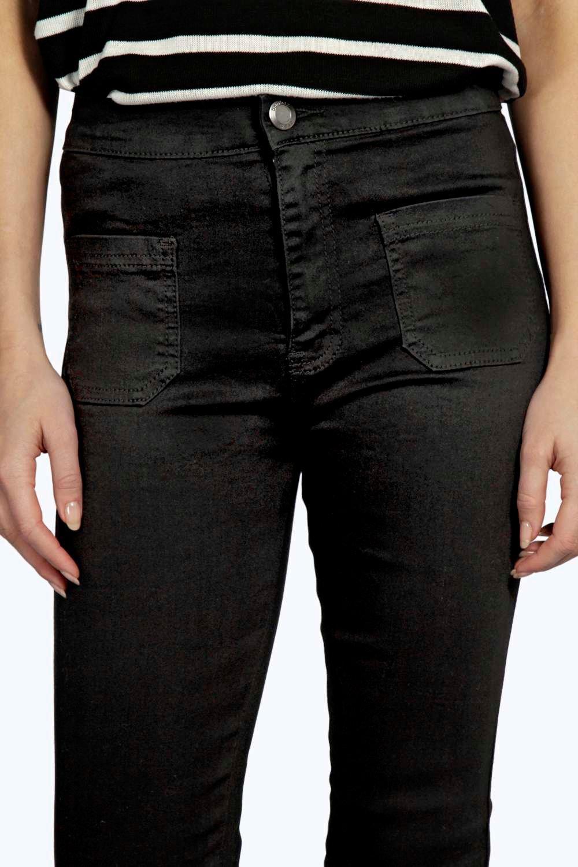 Boohoo Denim Lara Patch Pocket Tube Jeans in Black