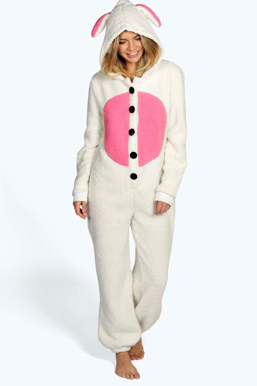 Boohoo Nelly Fluffy Bunny Onesie in Pink