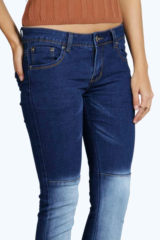 Boohoo Denim Zena Contrast Panel Skinny Jeans in Dark Blue (Blue)