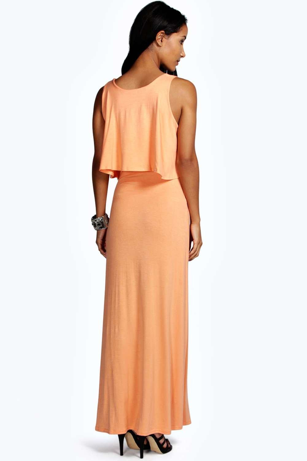 Boohoo Marie Double Layer Maxi Dress In Orange Lyst