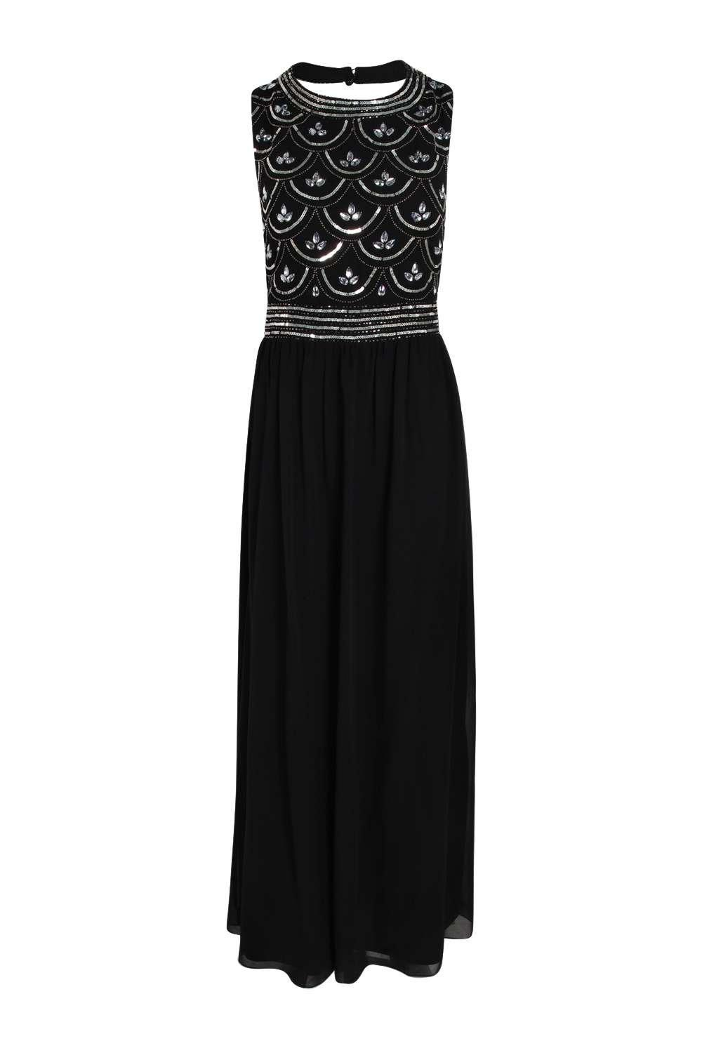 Boohoo Boutique Crina Embellished Top Chiffon Maxi Dress in Black