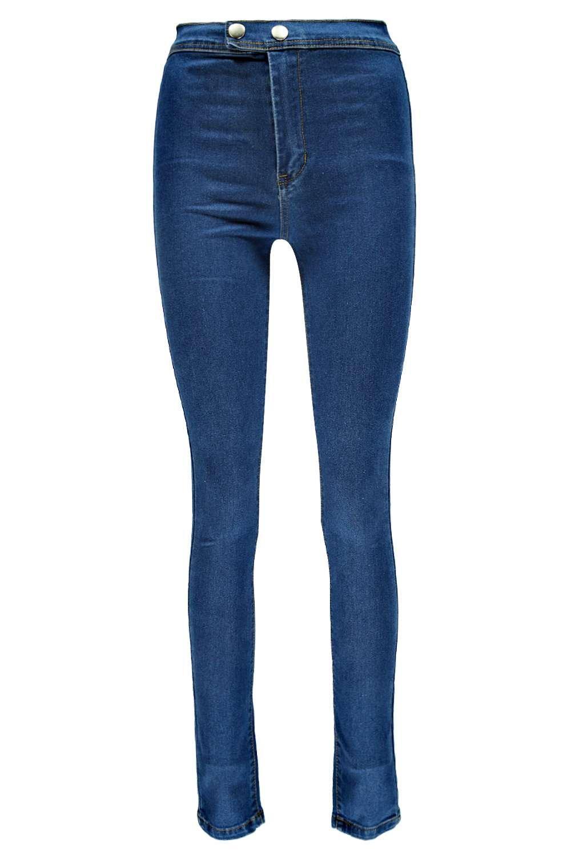 Boohoo Denim Rea Super High Waisted New Season Tube Jeans in Mid Blue (Blue)