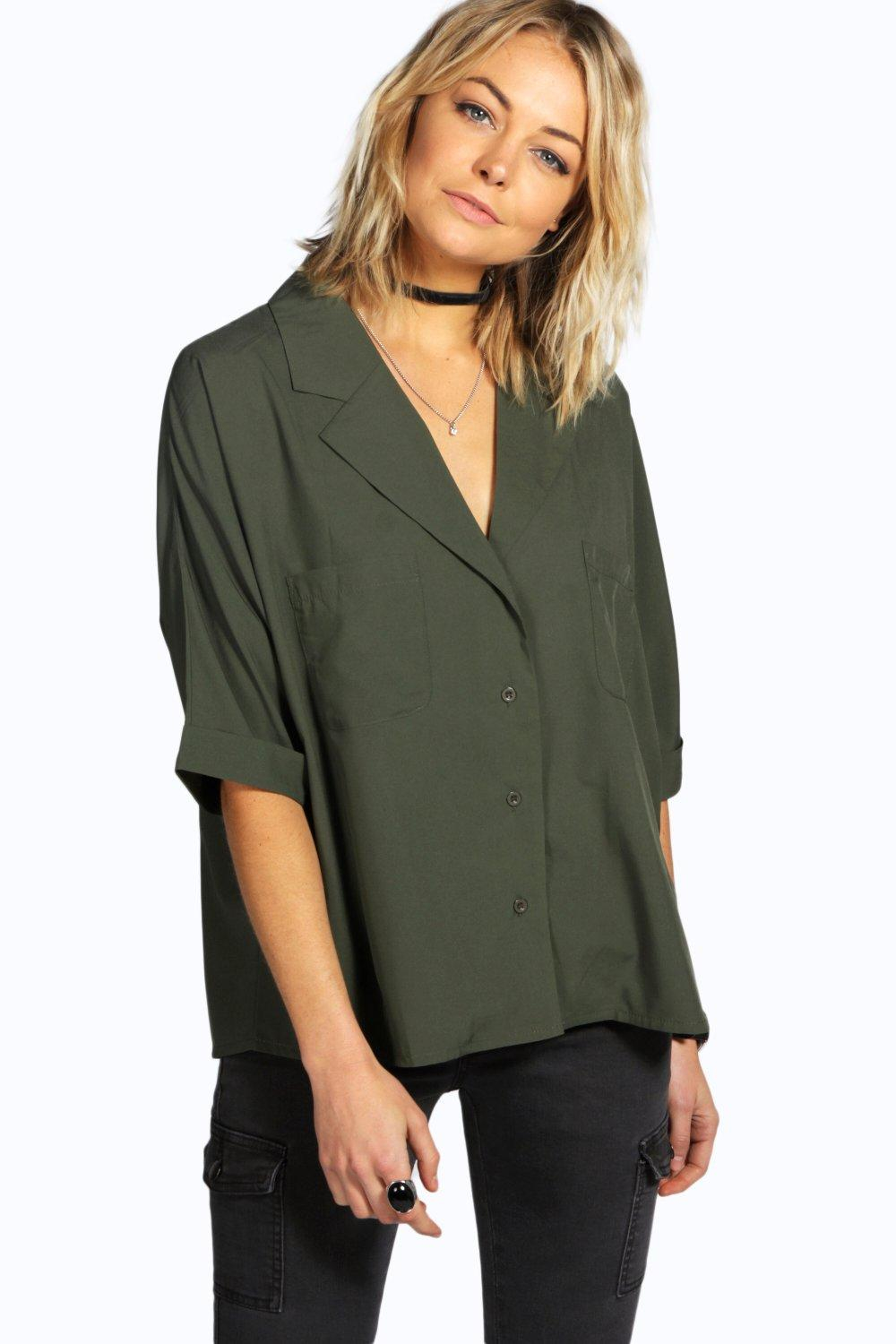 boohoo katherine revere collar oversized shirt in green lyst. Black Bedroom Furniture Sets. Home Design Ideas