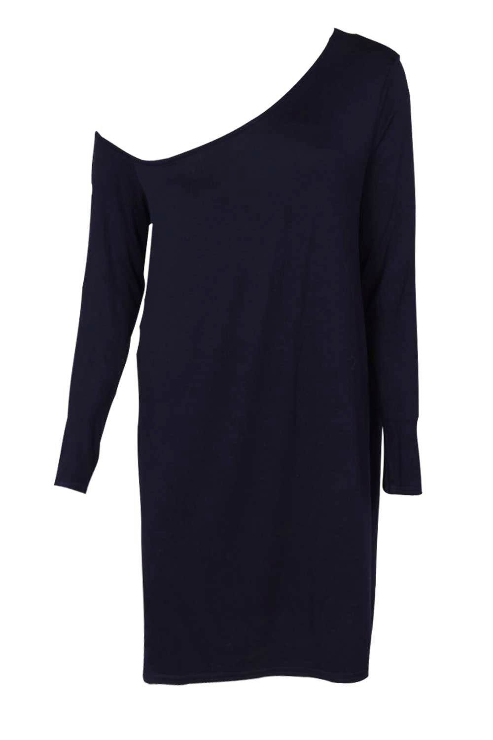 Boohoo Synthetic Rita Slash Neck Long Sleeve Slouch Dress in Navy (Blue)