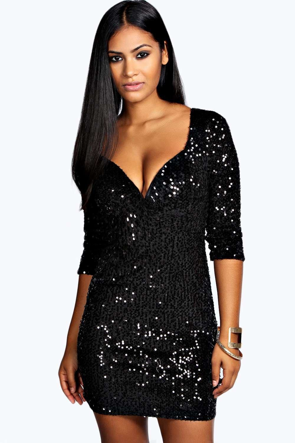 Boohoo Rosie Sequin Bodycon Dress in Black