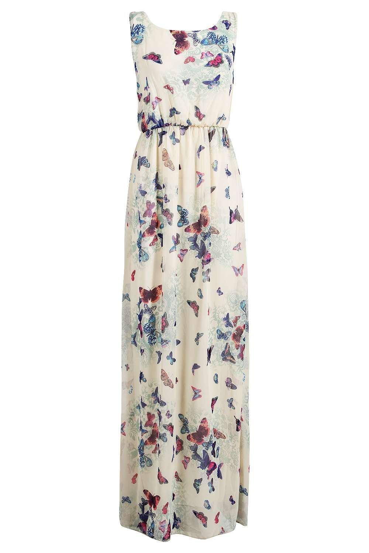 Boohoo Fionna Chiffon Butterfly Print Open Back Maxi Dress in Cream (Natural)