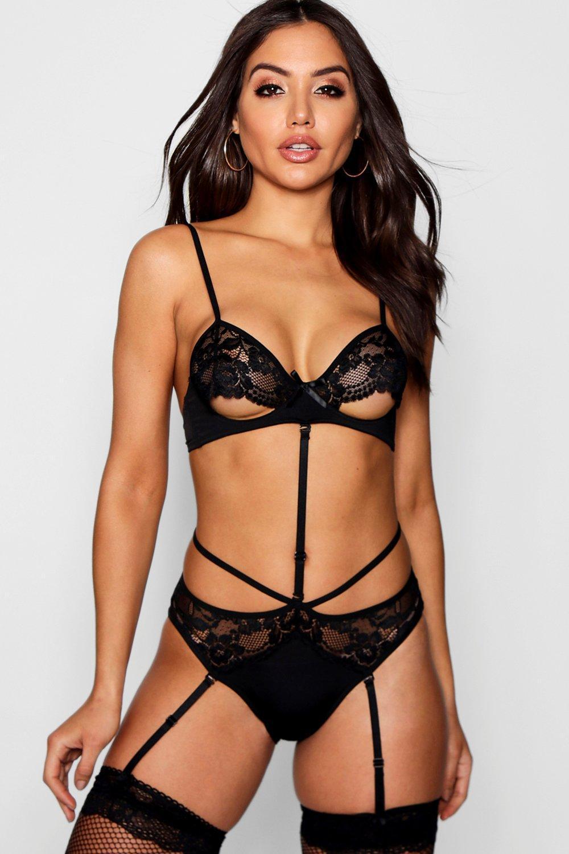 128a30f219 Lyst - Boohoo Peek-a-boo Suspender Body in Black