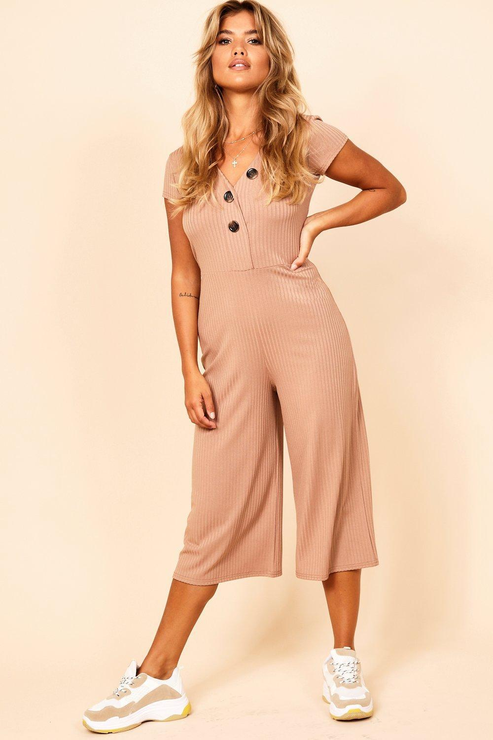 ff94467d92a Lyst - Boohoo Jumbo Rib Mock Horn Button Culotte Jumpsuit in Natural
