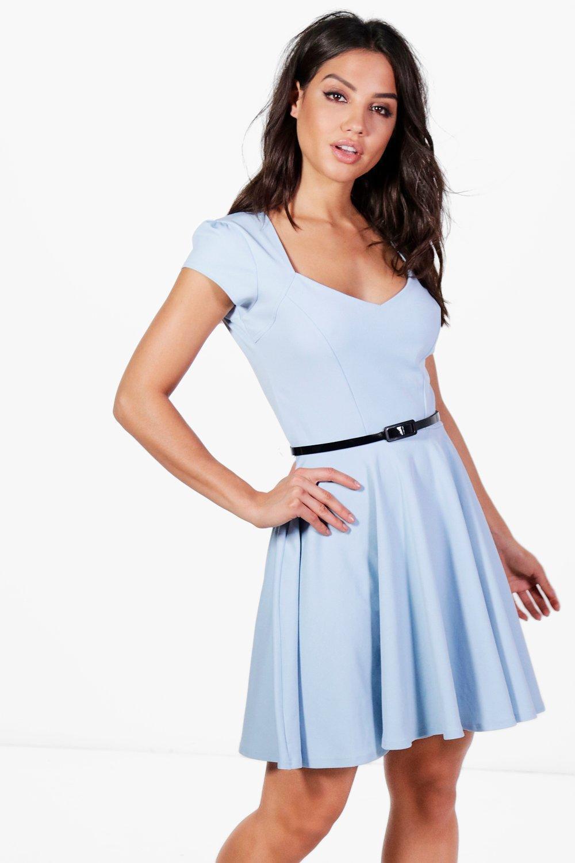 e58d7710e8e0 Boohoo Lara Sweetheart Neck Skater Dress in Blue - Lyst