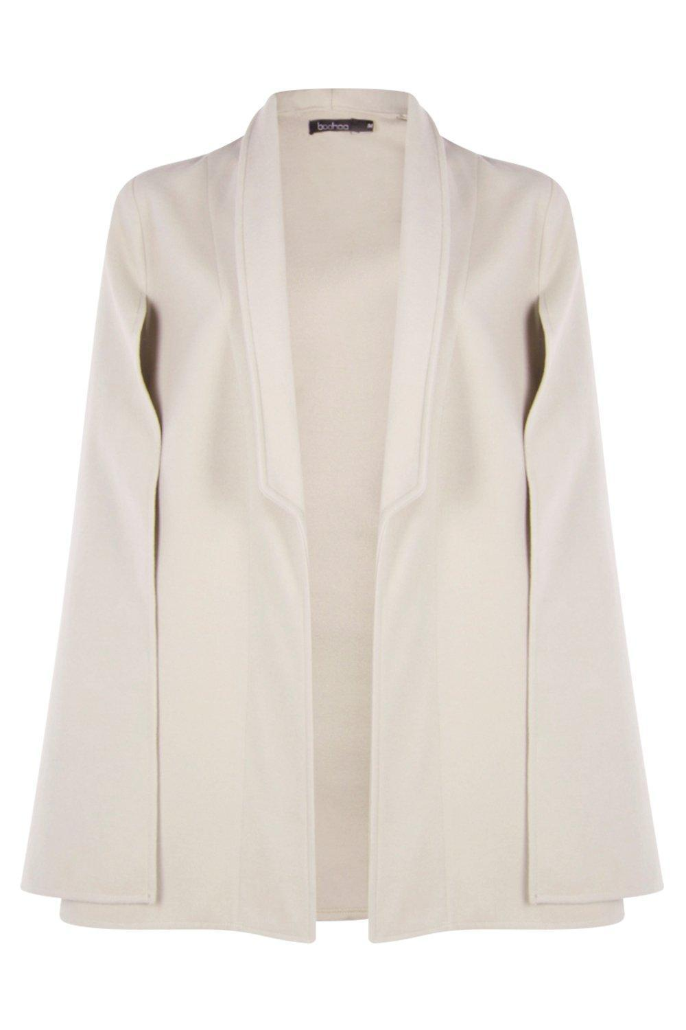 Boohoo Wool Look Cape in Stone (Natural)