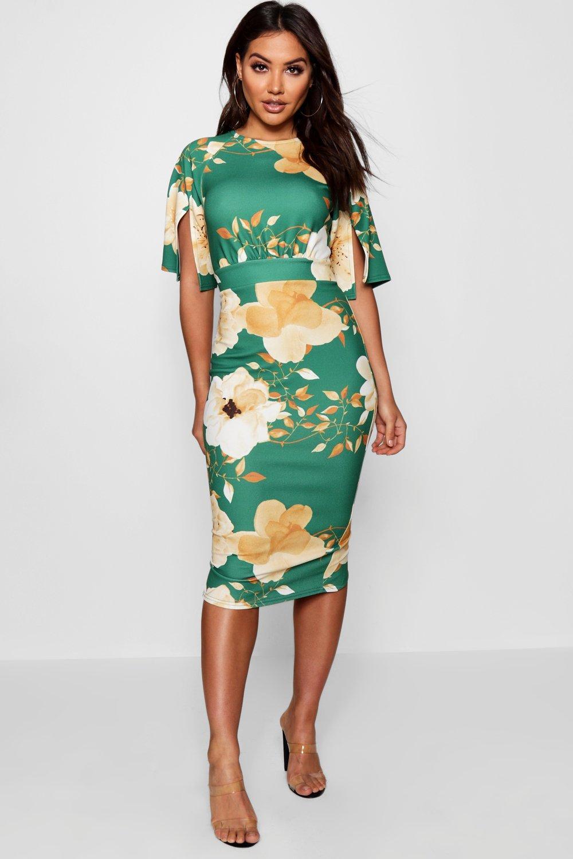 99c883e6a199 Boohoo Floral Split Sleeve Detail Wiggle Midi Dress in Green - Lyst