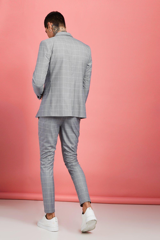 c87b6754862c Boohoo - Gray Jaspe Windowpane Check Tapered Trouser for Men - Lyst. View  fullscreen
