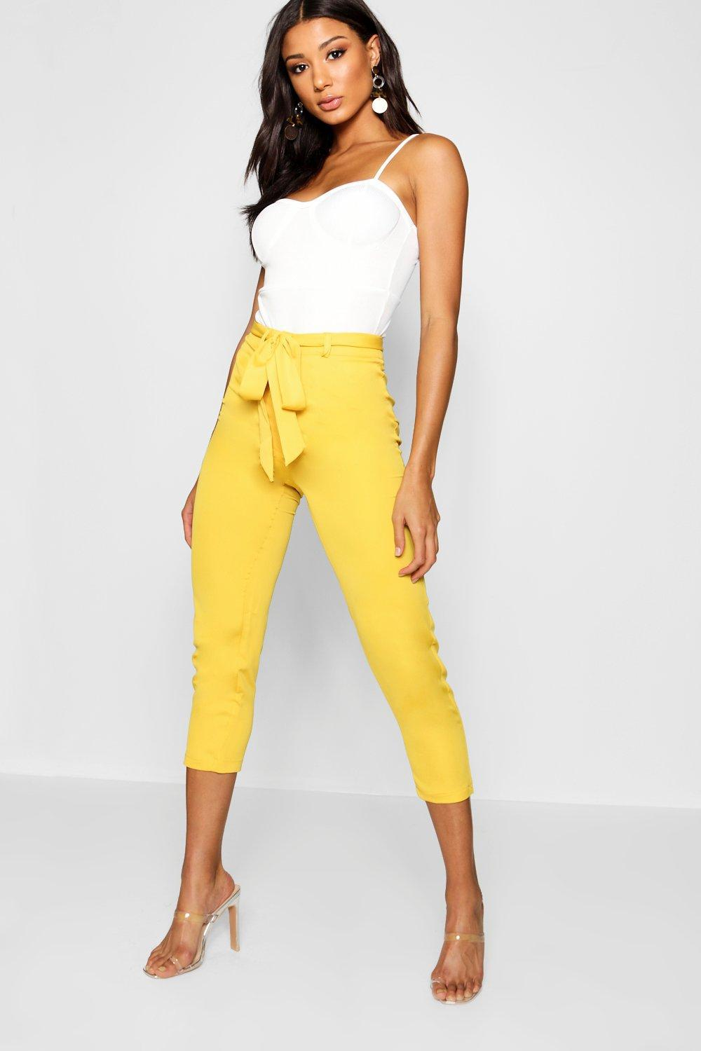 51f6d9b549109 Lyst - Boohoo Cropped Tie Waist Slim Fit Trousers