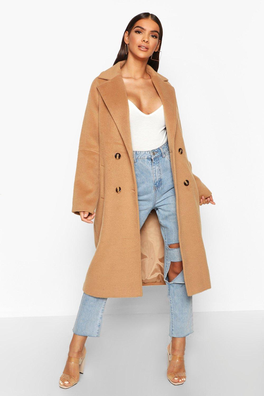 HTOOHTOOH Womens Double-Breasted Mid Length Lapel Slim Peacoat Pea Coat
