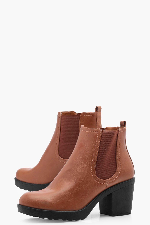 9a62e41603c Lyst - Boohoo Oana Chunky Cleated Heel Chelsea Boot in Brown