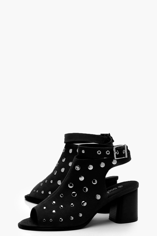 Boohoo Peeptoe Studded Shoe Boots in Black