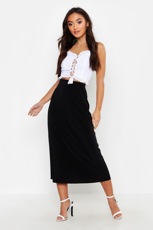 121d1f20f Lyst - Boohoo Petite Neon Slinky Midi Skirt in Black