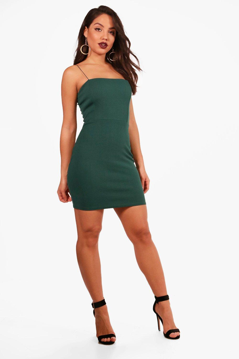 69bed3f76ae Boohoo Crepe Square Neck Bodycon Dress in Green - Lyst