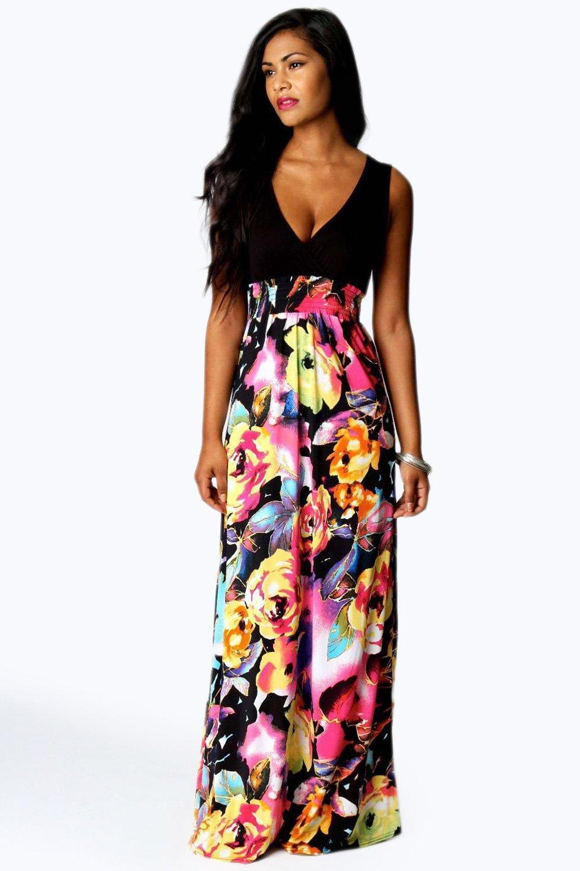 0d4963d311 Boohoo Petite Kiera Rose Print Maxi Dress in Black - Lyst
