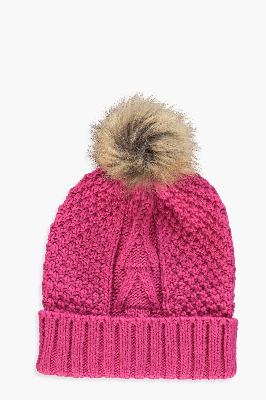 Boohoo. Women s Natural Faux Fur Pom Beanie 217c4498f34