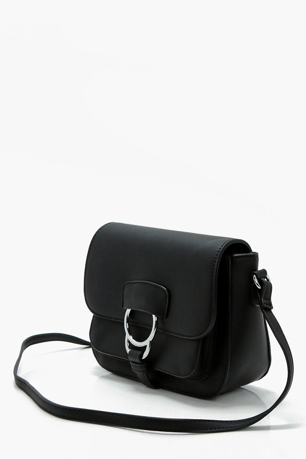 Boohoo Lilly Ring Detail Cross Body in Black