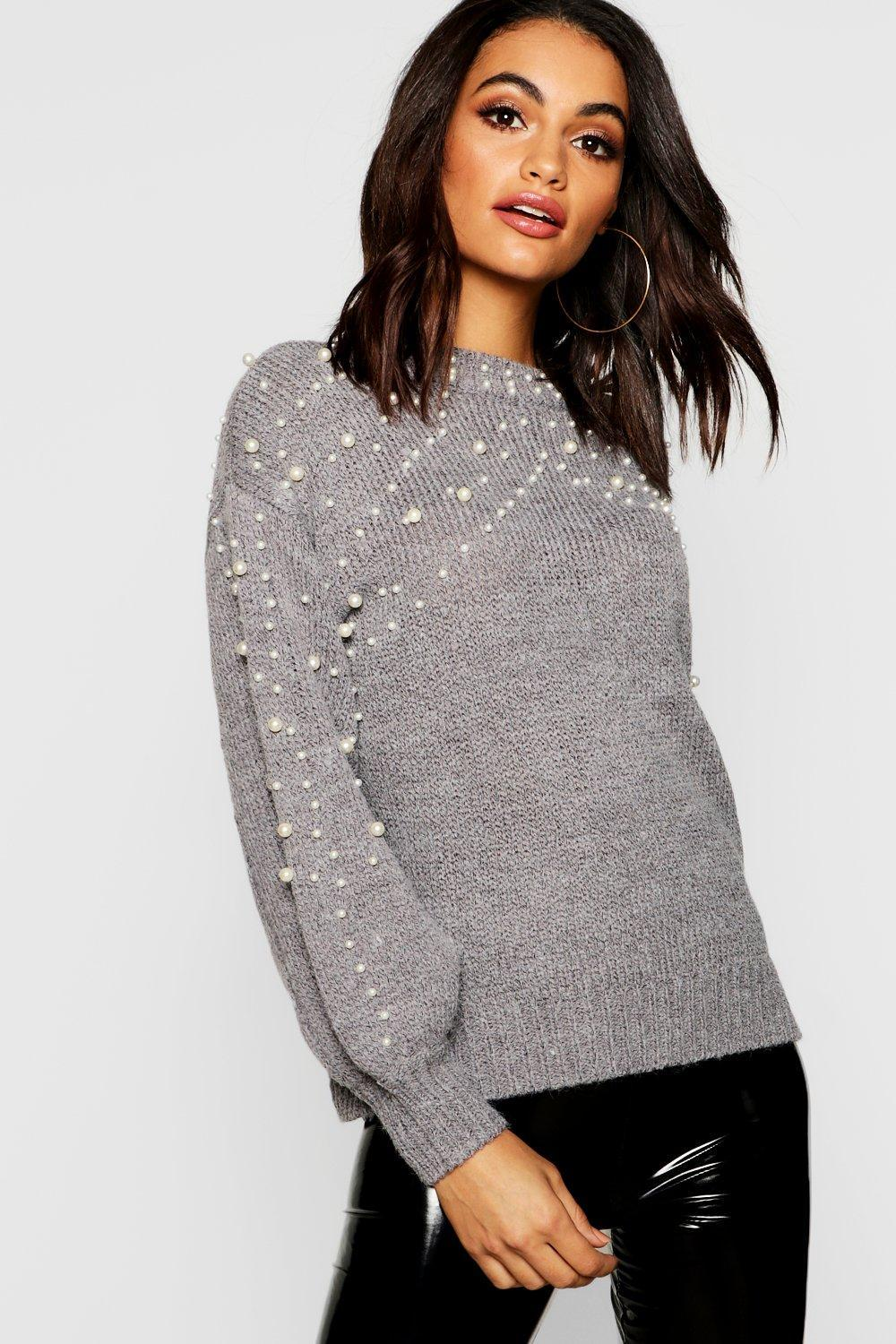 c46c5e950d0ea Boohoo. Women's Pearl Detail Knitted Oversized Sweater
