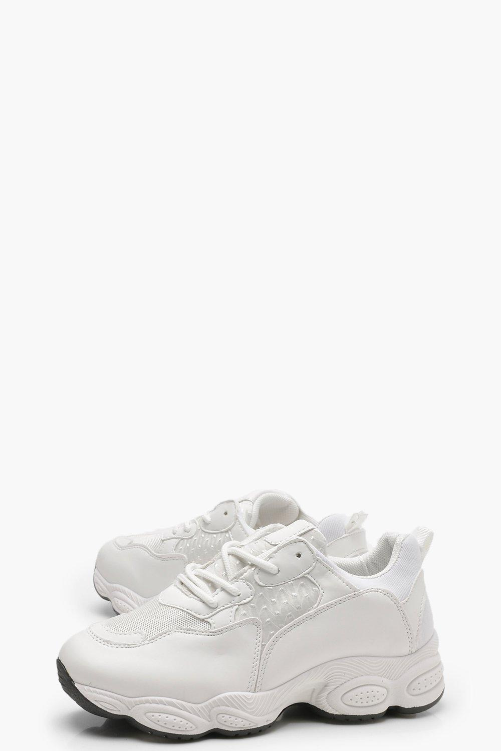 Boohoo Chunky Sole Trainers In White Lyst