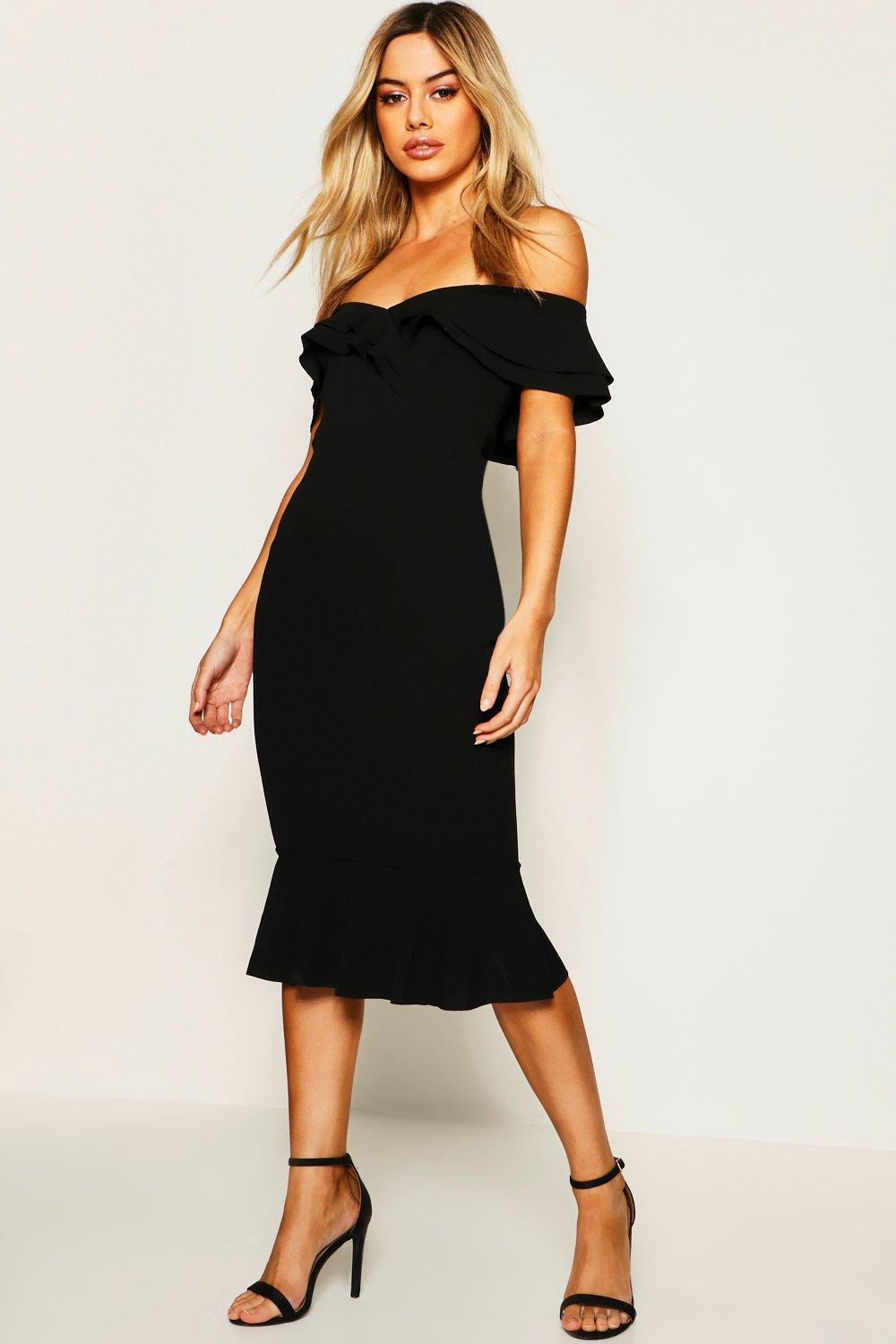 94d454e95d0f Boohoo Petite Bardot Midi Dress in Black - Lyst