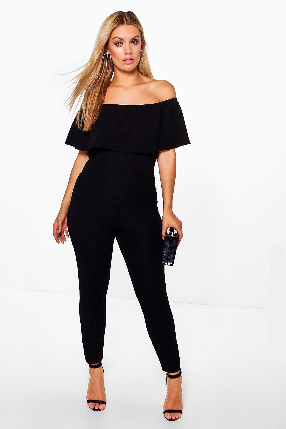 d8046eaaf4f3 Boohoo Plus Off The Shoulder Ruffle Jumpsuit in Black - Lyst