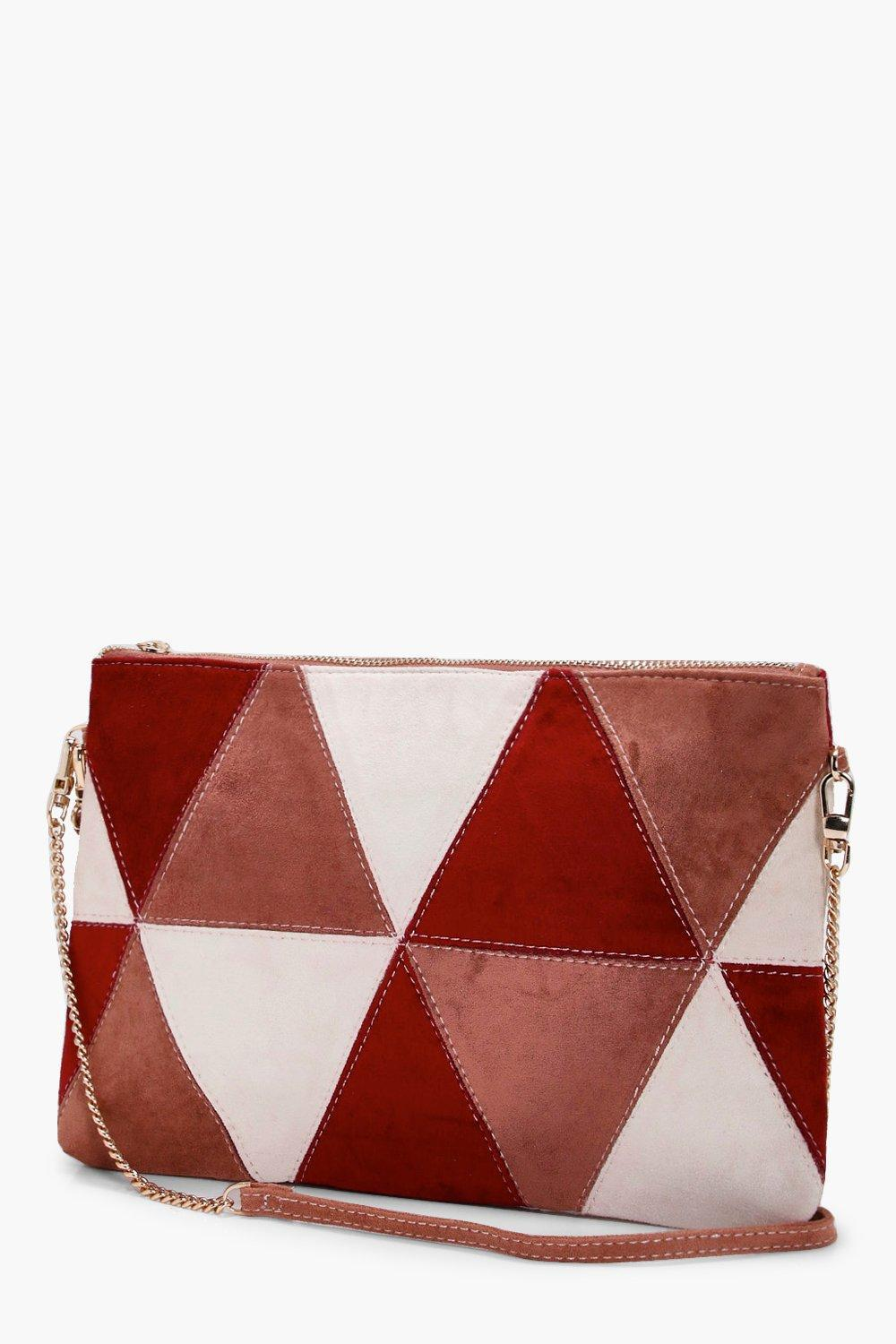 Boohoo Poppy Suedette Patchwork Cross Body in Red