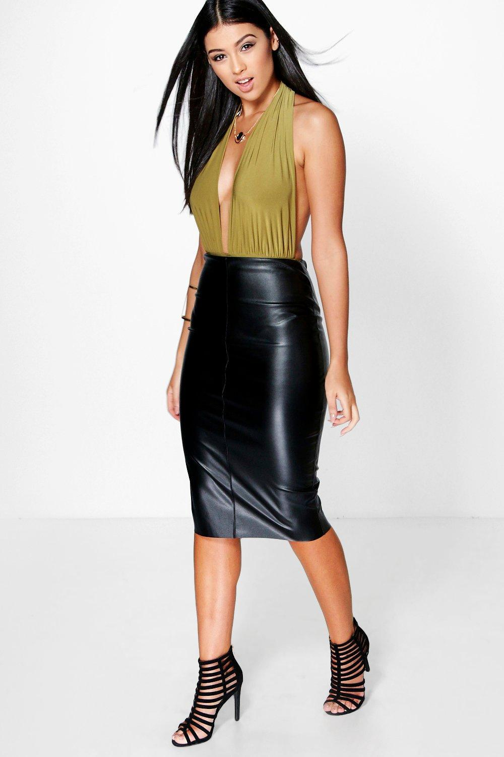 93afba83db Roza Coated Leather Look Skater Skirt – DACC