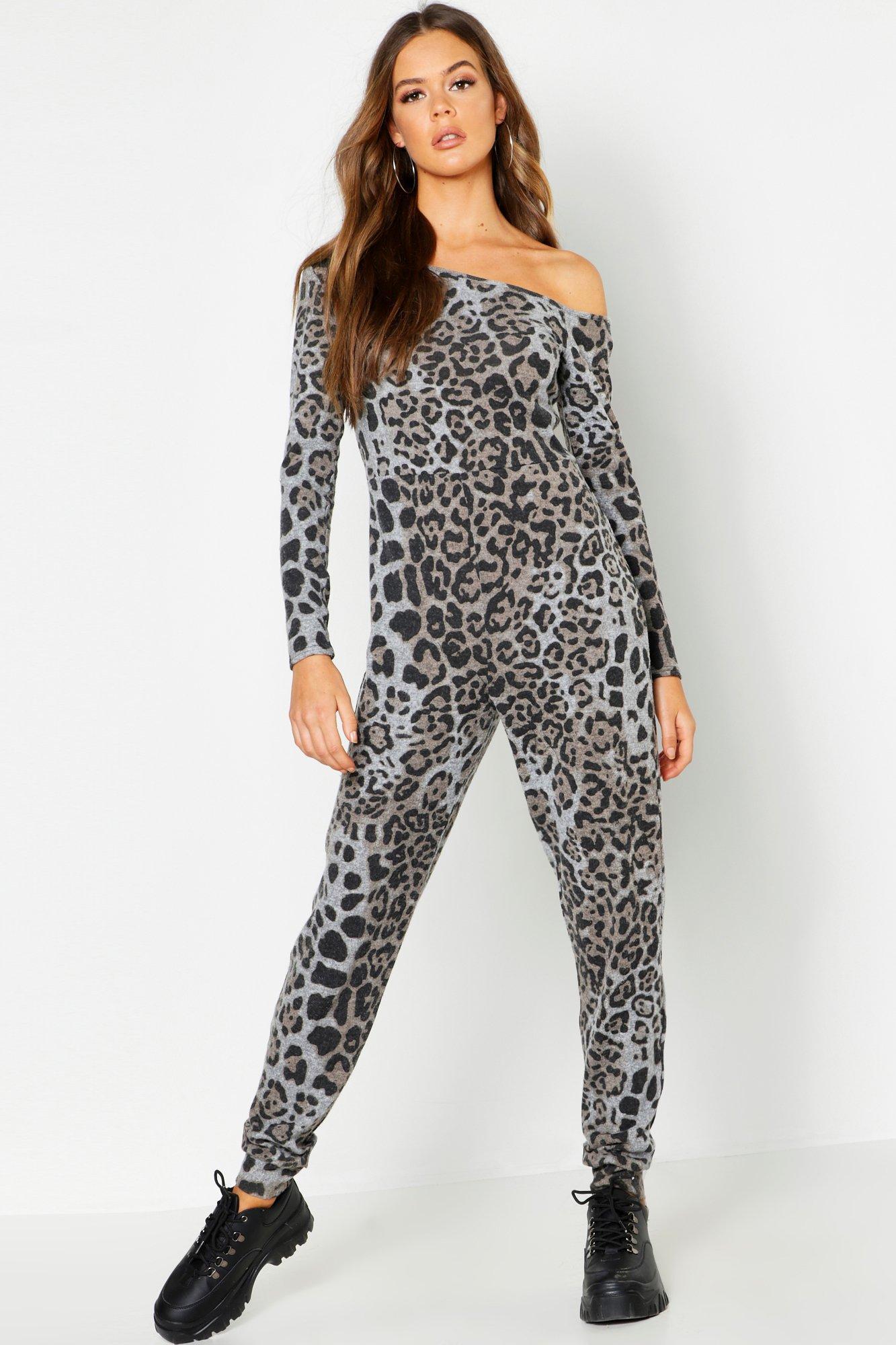 36fd35cdfbb7 Lyst - Boohoo Brushed Fleece Animal Bardot Jumpsuit in Gray