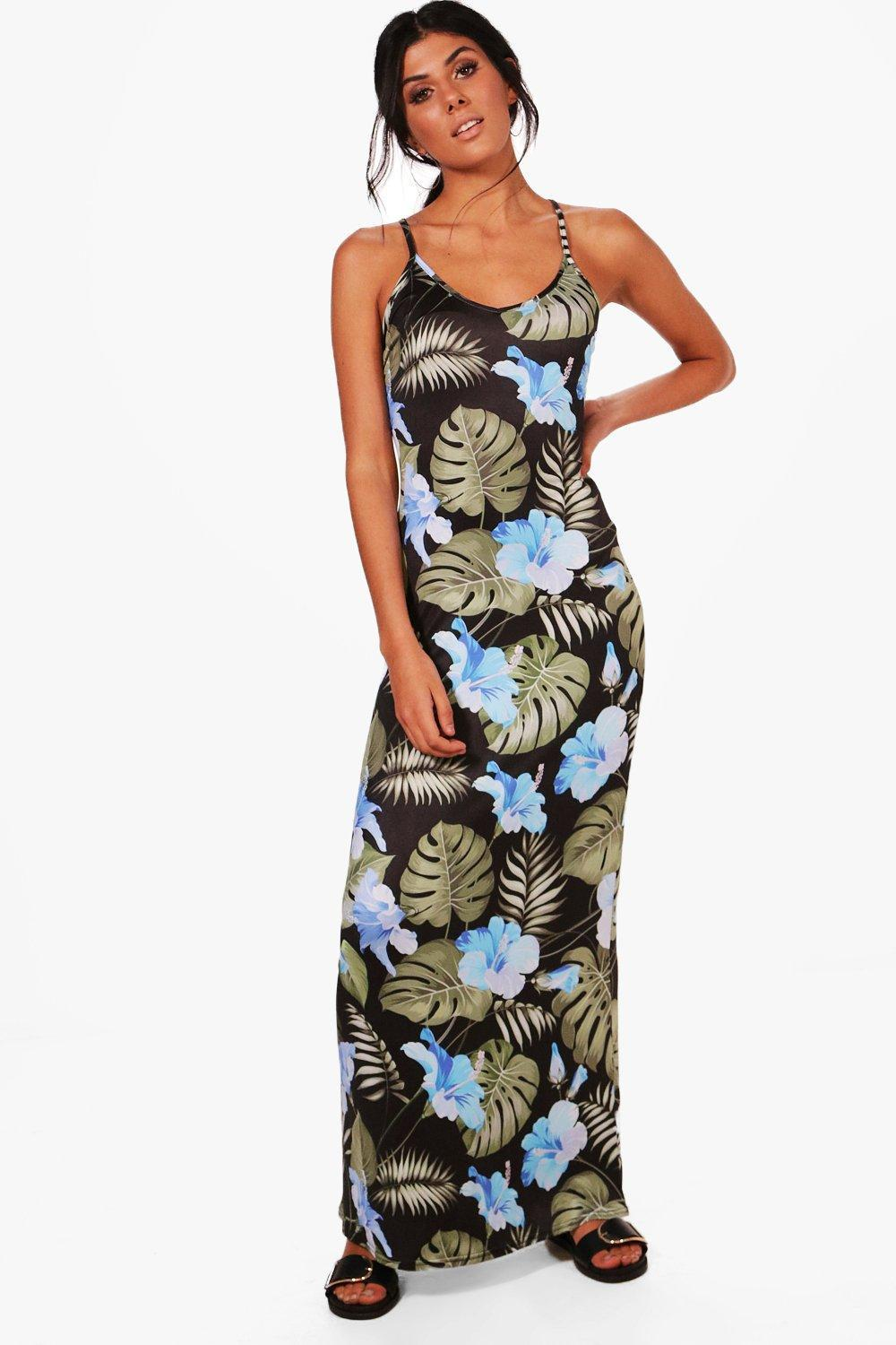 75aa332ebfd Boohoo Tropical Strappy Low Back Maxi Dress in Black - Lyst