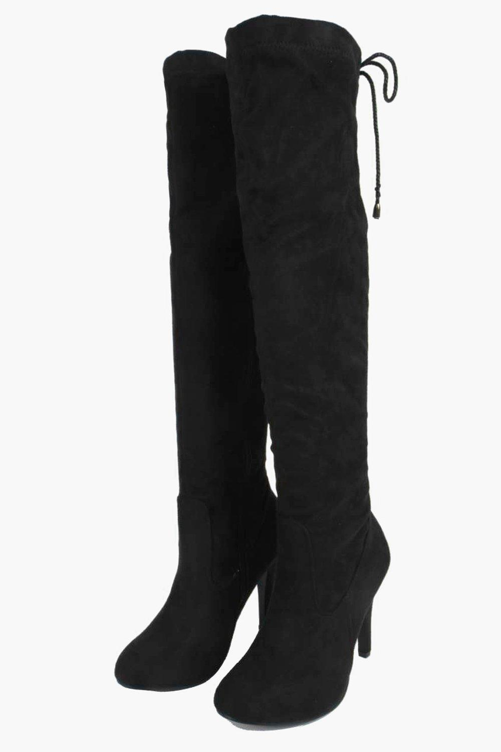 Boohoo Synthetic Isla Stretch Over Knee Pointed Boot in Black