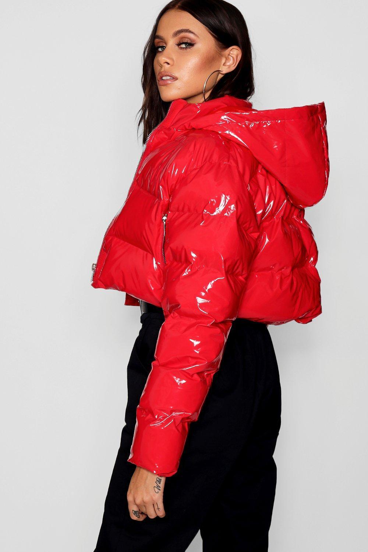 a36261e21 Boohoo Red Crop Vinyl Puffer Jacket