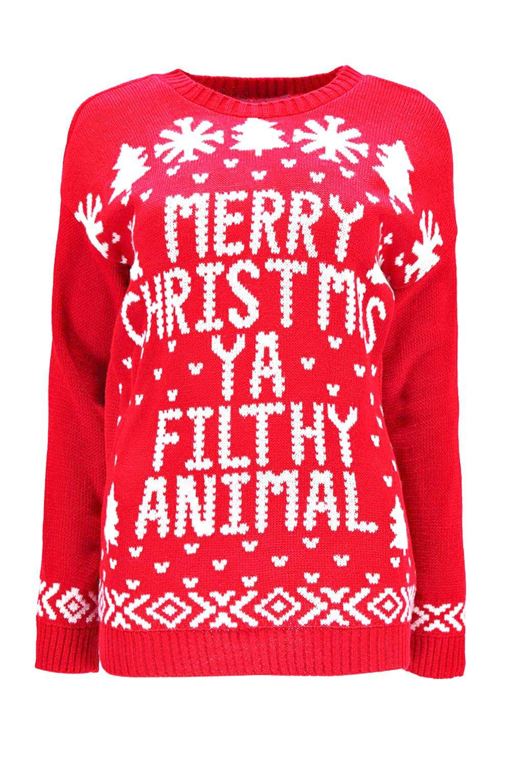Boohoo Merry Christmas Ya Filthy Animal Jumper In Red Lyst