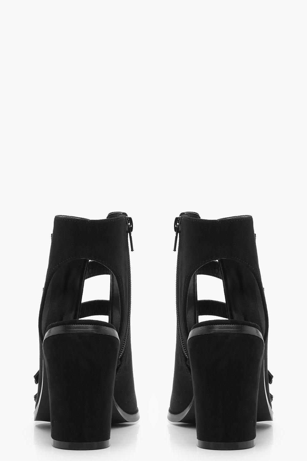 Boohoo Suede Multi Buckle Peeptoe Shoe Boots in Black