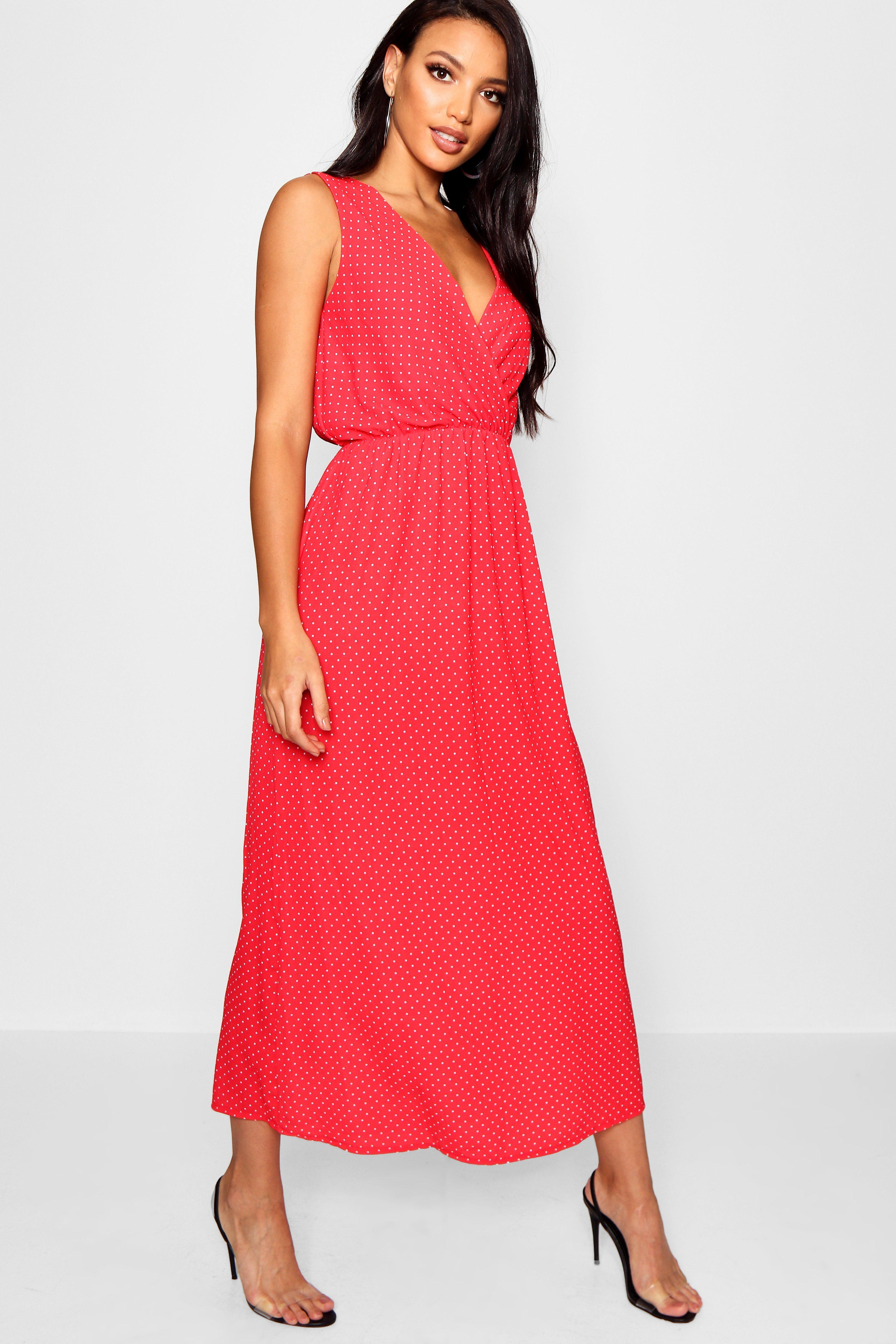 625c366e9ed0 Lyst - Boohoo Wrap Front Polka Dot Maxi Dress in Red